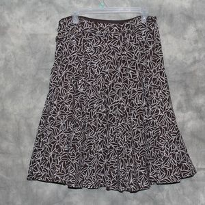 Worthington full skirt in brown and white floral